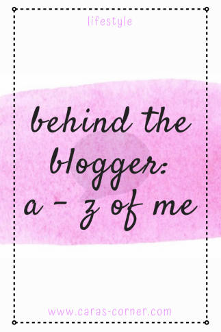 A - Z of me - behind the blogger