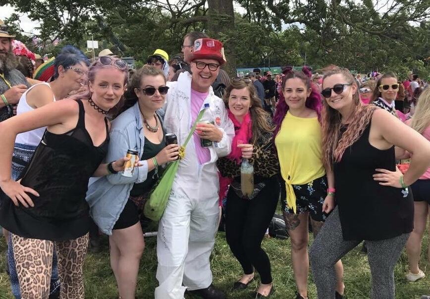 friends at glastonbury festival