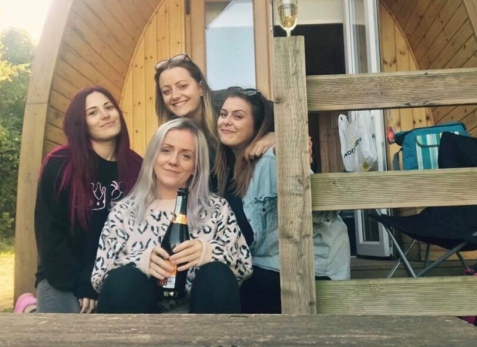 friends on a glamping trip